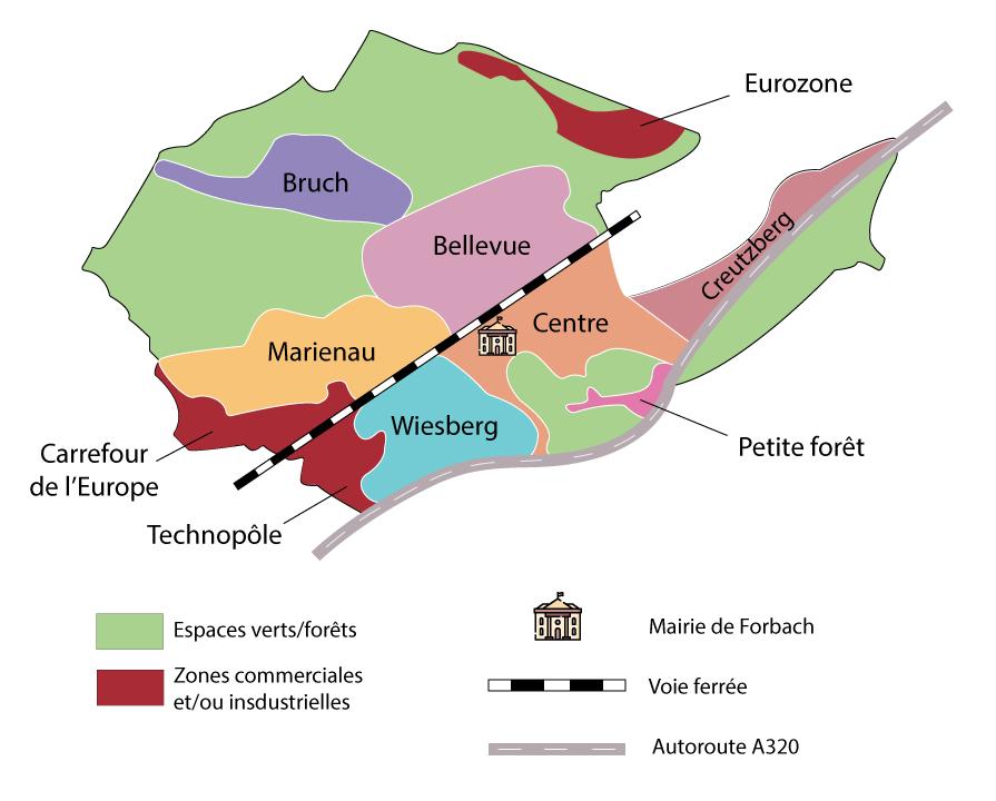 Carte des quartiers de Forbach